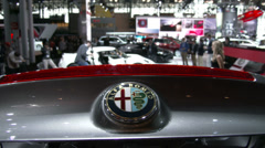 Detail of Alfa Romeo 4C at the New York International Auto Show Stock Footage