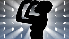 Sexy dancer silhouette with disco lights. - stock footage