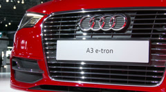 Stock Video Footage of Detail of the front section of the Audi A3 e-tron at the New York International