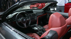 Detail of the new BMW M4 convertible at the New York International Auto Show Stock Footage