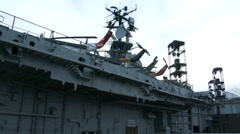 Aircraft carrier intrepid in New York City - stock footage
