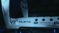 Virgin galactic spacecraft at a New York International Auto Show event Stock Footage