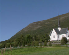NORWAY pan wooden church, Oppdal Kirke (1651) Oppdal parish Stock Footage