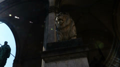 Hyperlapse Time Lapse Lion Statue Sculpture Odeonsplatz Munich Germany Europe Stock Footage
