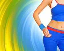 fitness gir's body on abstract background - stock illustration