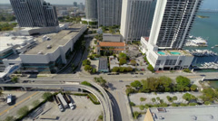 Aerial Miami Marriott and Doubletree Stock Footage