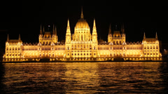 Budapest Parliament in Hungary at night Stock Footage