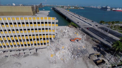 Aerial Miami Herald building demolition Stock Footage