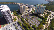 Stock Video Footage of Aerial video of Brickell Miami condominiums