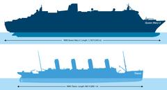 Titanic And Queen Mary 2 - Size Comparison - stock illustration