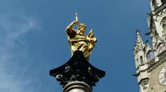 Hyperlapse Time Lapse Mariensäule Virgin Mary Spalte Column Marienplatz Square Stock Footage