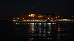 Domestic passenger ferry are sailing at night, Istanbul Stock Footage