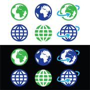 Stock Illustration of Globe earth vector icons in color