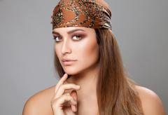 caucasian beauty wearing a headscarf - stock photo