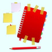 personal organizer with pencil - stock illustration