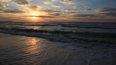Beautiful sunset at the beach, - stock footage