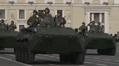 APCs go on Palace square in St. Petersburg during the rehearsal of the military Stock Footage