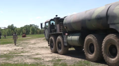 Fuel tanker at California National Guard and Cal Fire Joint training exercise Stock Footage