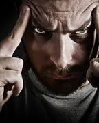 Close-up portrait of scary stressed man Stock Photos