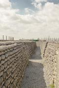trenches of death world war one sandbags in belgium - stock photo