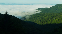 4K Time lapse - Low Clouds in the Blue Ridge Montains Stock Footage
