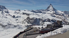 Gornergrat Station timelapse with Matterhorn Stock Footage