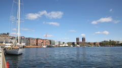 City Hall of Oslo Norway view from Oslo Harbor Stock Footage