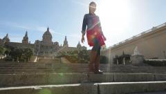 Barcelona tourist woman The Museu Nacional d'Art Stock Footage