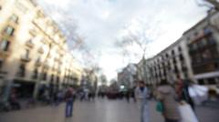 Barcelona La Rambla walking street background Stock Footage