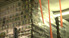 Food bank pallets of canned food Stock Footage