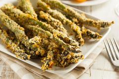 homemade panko breaded asparagus - stock photo