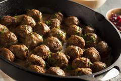 homemade swedish meatballs with cream sauce - stock photo