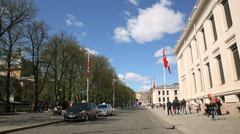 Oslo City Norway view Royal Palace Stock Footage