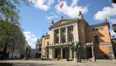 National Theater Oslo Norway - stock footage