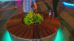 4K. Panning timelapse. A crowd of people in the central street of the night city Stock Footage