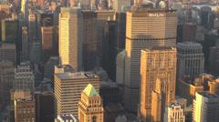 Aerial view NYC New York skyscraper sunset sunny day Manhattan rooftop landmark  Stock Footage