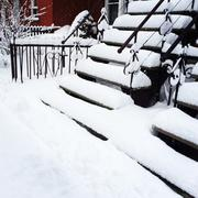 Staircases after snowstorm - stock photo