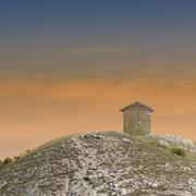 shack on the hilltop - stock photo