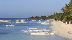 Boat on the sea in island Panglao, Philippines Stock Footage