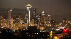 Stock Video Footage of Downtown Seattle skyline with full moon 2