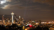 Stock Video Footage of Downtown Seattle skyline with full moon