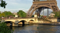 First floor of the Eiffel Tower and Iena bridge traffic Stock Footage