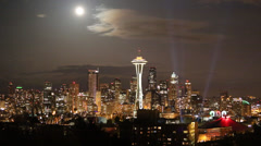 Downtown Seattle skyline with full moon 3 Stock Footage