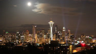 Stock Video Footage of Downtown Seattle skyline with full moon 3