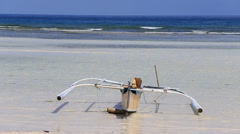 Boat on the beach in island Panglao, Philippines Stock Footage