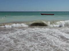 dramatic muddy ferocious ocean breaking waves washing beach sand - stock footage