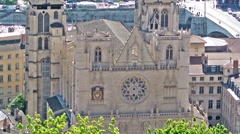 Saint Jean Cathedral in Lyon, France Stock Footage