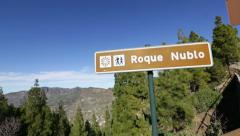Gran Canaria landmark Roque Nublo sign Stock Footage