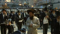 4K UHD Jews Pray at the Western Wall the night before Priestly Blessing Stock Footage