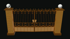 Gate with brick posts and from above standing balls Stock Footage
